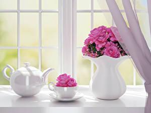 Fotos Rosen Wasserkessel Fenster Vase Rosa Farbe Tasse Blumen 3D-Grafik