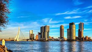 Fotos Rotterdam Niederlande Wolkenkratzer Brücke Fluss Himmel Nieuwe Maas river Städte
