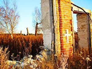 Fotos Ruinen Herbst Kreuz Natur