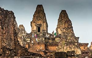 デスクトップの壁紙、、廃墟、階段、Cambodia, Angkor、都市