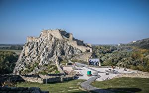 Fotos Ruinen Slowakei Burg Felsen Devin castle, Bratislava Natur