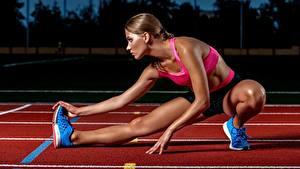 Bilder Laufen Bein Dehnübungen junge frau Sport