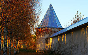 Pictures Russia Autumn Temples Monastery Birch Dome Mozhaysk Cities