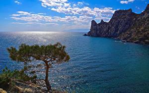 Bilder Russland Krim Meer Landschaftsfotografie Himmel Felsen Bäume Wolke Yalta