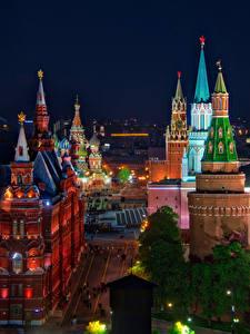 Bilder Russland Moskau Haus Moskauer Kreml Straße HDR Nacht