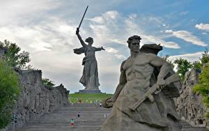 Hintergrundbilder Russland Denkmal Mann Wolgograd The Motherland Calls, Mamayev Kurgan