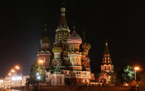 Fotos Russland Moskau Tempel Nacht Straßenlaterne Saint Basil's Cathedral in Red Square