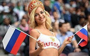 Bilder Russland Blond Mädchen Starren Flagge Wort Englisches Hand Natalia Nemchinova, World Cup 2018