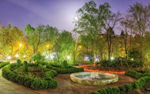 壁纸、、ロシア、公園、春、噴水、夕、木、低木、街灯、Sakhalin、自然