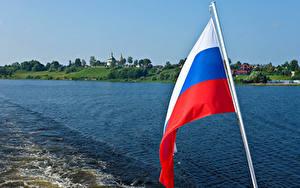 壁纸、、ロシア、川、旗、ロシアの、Uglich River Volga、