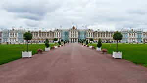 Fotos Russland Sankt Petersburg Palast Rasen Catherine Palace Städte