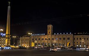 Fotos Russland Sankt Petersburg Haus Denkmal Nacht Straßenlaterne Städte