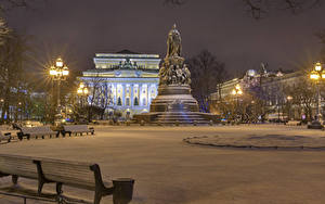 Bilder Russland Sankt Petersburg Winter Haus Denkmal Schnee Bank (Möbel) Straßenlaterne Nacht Ostrovskogo Square