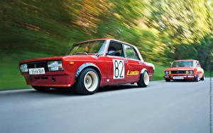 Fotos Russische Autos Tuning Rot Fahrendes Rallye vaz automobil Sport