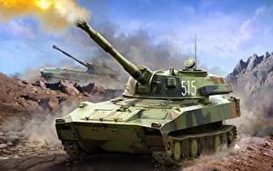 Hintergrundbilder Selbstfahrlafette Gezeichnet Russische Schuss Soviet Self Propelled 122 mm Howitzer GVOZDIKA. Heer