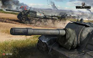 Hintergrundbilder Selbstfahrlafette World of Tanks Russischer SU-152 Spiele