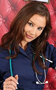 Wallpapers Saffron only Nurse costume Brown haired Staring Hands Hair young woman