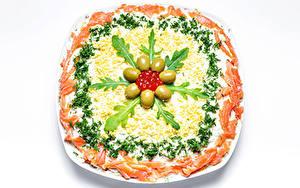 Hintergrundbilder Salat Oliven Gemüse Meeresfrüchte Caviar Fische - Lebensmittel Weißer hintergrund