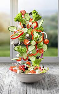 Bilder Salat Gemüse Gurke Tomate Kreativ Teller Lebensmittel