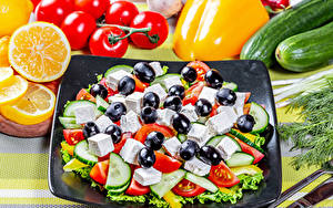 Hintergrundbilder Salat Gemüse Oliven Apfelsine Tomaten Gurke