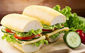 Bilder Sandwich Brot Gemüse Großansicht Zwei Lebensmittel