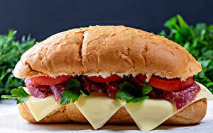 Bilder Sandwich Brötchen Käse Wurst das Essen