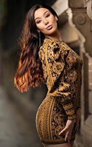 Bilder Braunhaarige Kleid Blick Unscharfer Hintergrund Sarah