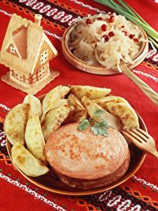 Bilder Wurst Kartoffel Tischdecke Lebensmittel