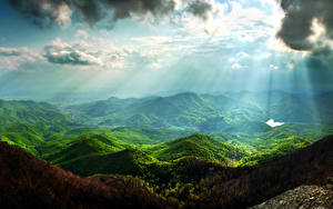 Bilder Landschaftsfotografie Gebirge Himmel Laubmoose Wolke Lichtstrahl