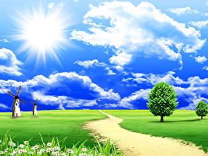 Bilder Landschaftsfotografie Sommer Felder Himmel Wolke Sonne Mühle Weg