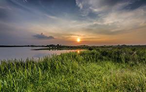 Bilder Landschaftsfotografie Sonnenaufgänge und Sonnenuntergänge Flusse Himmel Gras Sonne