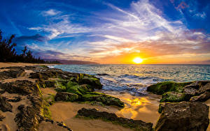 Hintergrundbilder Landschaftsfotografie Sonnenaufgänge und Sonnenuntergänge Küste Himmel Steine USA Ozean Hawaii Laubmoose Sonne