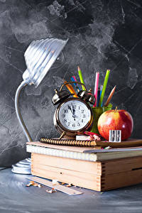 Wallpaper School Clock Apples Alarm clock Lamp Books Pencils Notebooks Sport