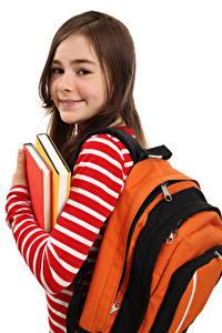 Hintergrundbilder Schule Weißer hintergrund Kleine Mädchen Bücher Starren Rucksack kind