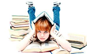 Fotos Schule Weißer hintergrund Kleine Mädchen Buch Hand Blick Kinder