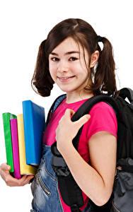Hintergrundbilder Schule Weißer hintergrund Kleine Mädchen Starren Buch Kinder