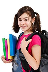 Hintergrundbilder Schule Weißer hintergrund Kleine Mädchen Starren Buch
