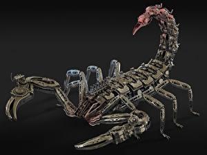Bilder Skorpione Roboter Metallisch Grauer Hintergrund