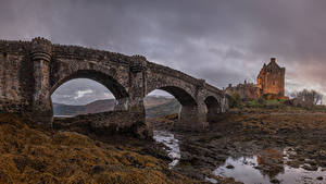 Fotos Schottland Burg Brücke Fluss Eilean Donan Castle Städte