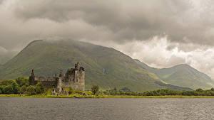 デスクトップの壁紙、、スコットランド、城、廃墟、湖、山、蘚類、Kilchurn Castle Loch Awe、、自然