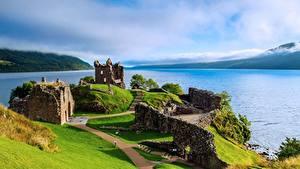 デスクトップの壁紙、、スコットランド、湖、廃墟、Loch Ness, Urquhart Castle、自然