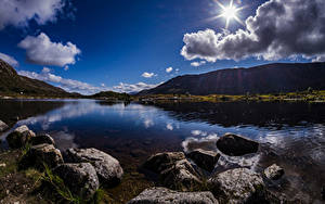 Hintergrundbilder Schottland Gebirge See Steine Wolke Sonne Achallader