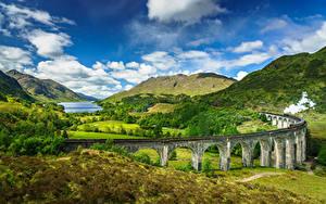 Fotos Schottland Berg Himmel Brücken Landschaftsfotografie Wolke Glenfinnan, Lochaber, steam train