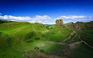 Hintergrundbilder Schottland Himmel Wolke Felsen Hügel Fairy Glen, Isle of Skye, Hebrides