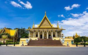 Fotos Skulpturen Palast Design Treppe Cambodia Royal Palace Städte