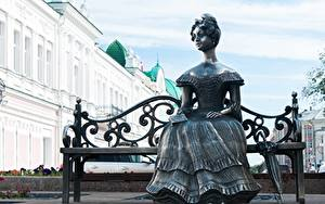 Pictures Sculptures Russia Bench Umbrella Sit Frock Lyuba sculpture, Omsk Cities