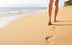 Fotos Meer Strand Sand Bein Fußabdrücke Natur