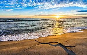 Fotos Meer Küste Sonnenaufgänge und Sonnenuntergänge Himmel Landschaftsfotografie Sand Sonne