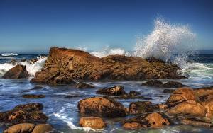 Hintergrundbilder Meer Stein Wasserwelle Spritzwasser HDR Natur