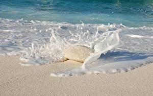 Hintergrundbilder Meer Steine Wasserwelle Wasser spritzt Sand Schaum Natur